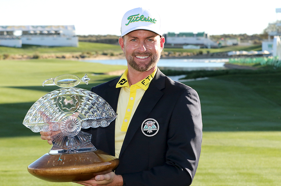 Webb Simpson with Phoenix Open trophy